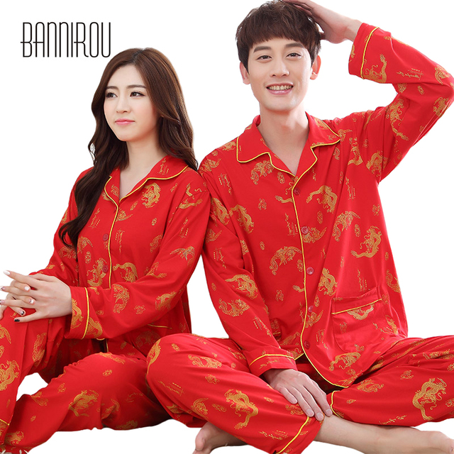 5ef519a7d2 Chinese Dragon His-and-her Matching Pajamas Sets Red Full Lapel Home Wear  For Lovers Man Woman 100% Cotton Spring Couple Pyjamas