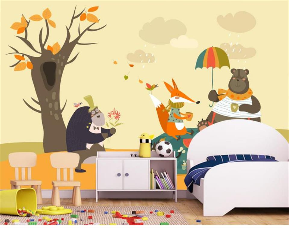 custom 3d photo wallpaper kids mural big tree bear animal living room picture painting sofa TV background non-woven wall sticker 3d wallpaper photo wallpaper custom mural kids room super mario world trees painting sofa tv background wall non woven sticker