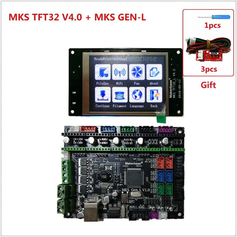 MKS GEN L V1.0 + MKS TFT32 V4.0 táctil LCD pantalla barato 3D tarjeta electrónica kit plug and play openbuilds para 3d impresora arranque