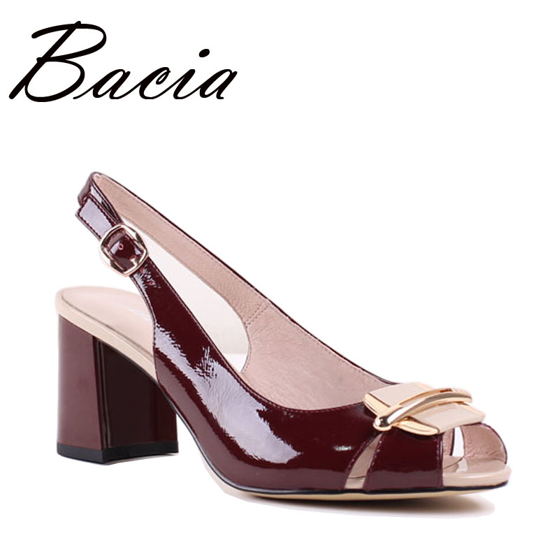 Bacia New Sheep Skin Sandals Wine Red Decorated Shoes Open Toe Back Strap Genuine Leather Shoes Size 33-42 Handmade Sandal SA037 spaghetti strap chiffon open back dress