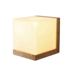 Lampa ścienna Led drewniana nowoczesna lampka nocna Forsted Glass E27 gniazdo Vintage prosta kreatywna ściana światło dla sypialnia salon|Wewnętrzne kinkiety LED|Lampy i oświetlenie -