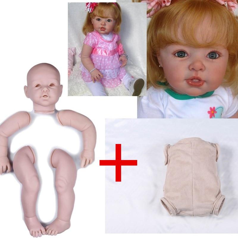 29 pouces silicone bébé poupées kit ensemble grand bambin Reborn Kit avec corps en tissu complet vinyle bras et jambes 74cm artiste moule à la main