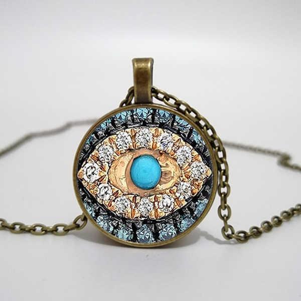 Collier mauvais œil bonne chance collier d'art Talisman Eyeliner collier en verre imprimé, collier pendentif, photo à la main