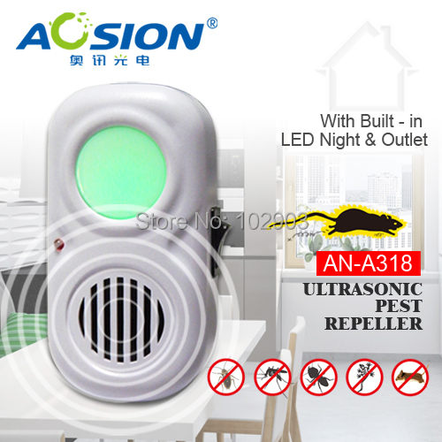 Aosion AN-A318 Indoor ultrasonic Mouse Insect Bug Rats repellent eletronicos pest reject control repeller with LED night light