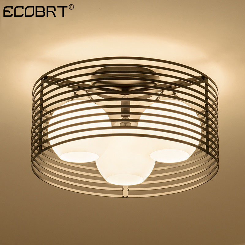 ECOBRT Bedroom lamp round LED glass ceiling lamp modern design dining room lamp simple creative room