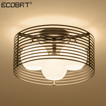 ECOBRT Bedroom lamp round LED glass ceiling modern design dining room simple creative
