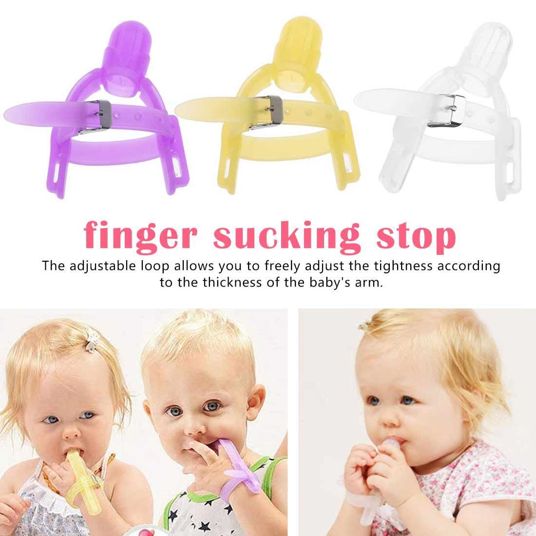 Nontoxic Silicone Baby Teethers Kids Child Thumb Guard Stop Sucking Fingers With Wrist Band Prevent Baby Finger Bite
