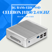 Mini pcc N2830 N2840 J1800 8G RAM 128G SSD WIFI  Fanless Office Computer Mini PC Tablet Support Linux OS Ubuntu