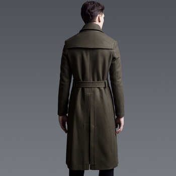 CHAOJUE Extra long woolen coat male British double-breasted trenchcoat mens slim fit classic army green warm pea coat