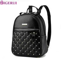 DIGERUI Women Backpack Fashion Rivet Causal Bags Bead Female Shoulder Bag PU Leather Backpacks For Girls