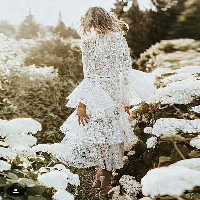 Autumn Spring Elegant Women Gorgeous High Street Heavy Lace Embroidery Dresses Flare Sleeve Hollow Out Ball