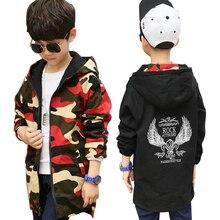 נערי מעיל ילדי סתיו להאריך ימים יותר מעיל בגיל ההתבגרות ילדי מזדמן דו צדדי הסוואה מעיל 4 13 Y בני מעיל רוח בגדים