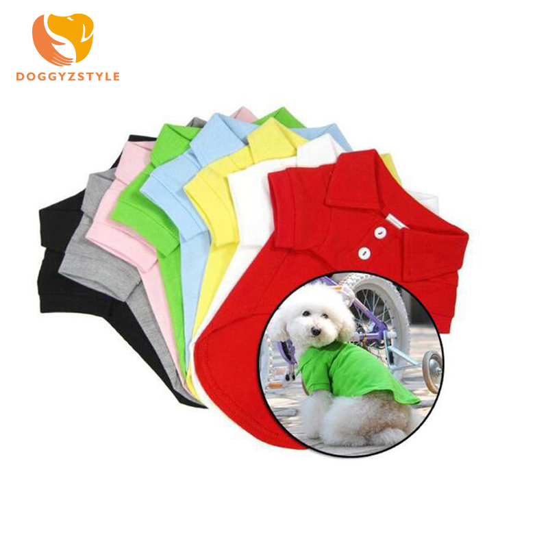 6 Colors Pet Dog Cat Vest For Dogs Fashion Summer POLO Collar T-Shirts Pet Clothes Spring Teddy T-Shirt Size XS-XL DOGGYZSTYLE