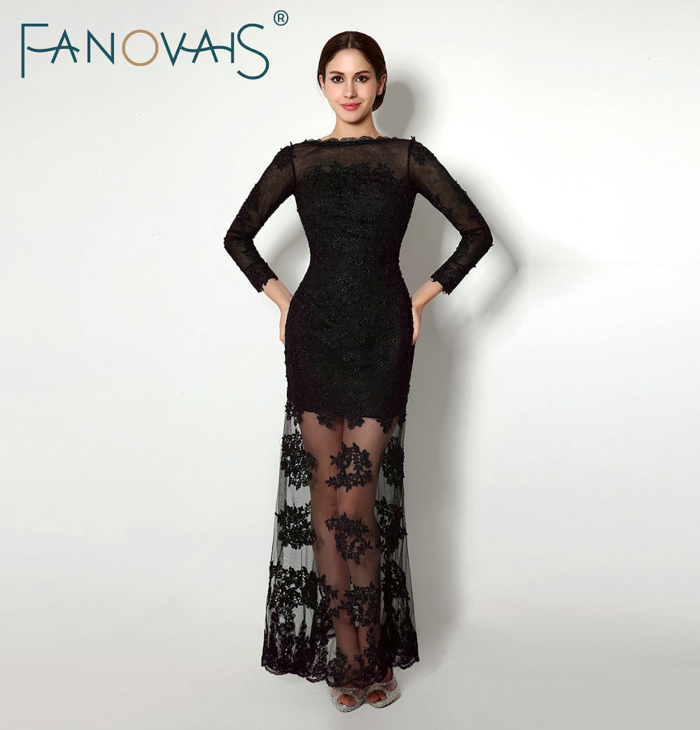 In Stocks Lace Appliques Boat Neck Long Sleeves Black Evening Dresses Floor Length Sheath Open Back Formal Evening Dress