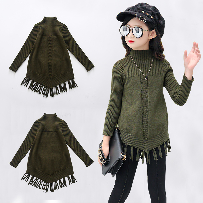 Sweater For Girls 4 5 6 8 9 10 11 12 13 Years 2018 New Fashion Autumn Winter Tassel Kids Ribbed Sweater Korean Style Clothing hurave new arrival girls tassel sweater children fashion kids clothing brand england style toddler clothes