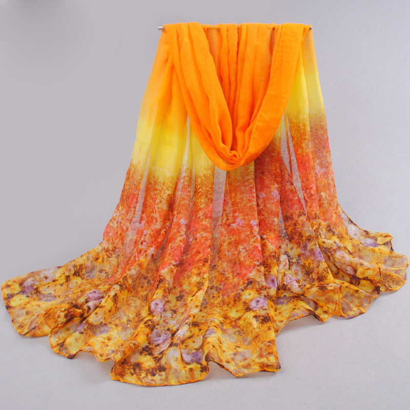 Ladies Summer Beach Floral Print Voile Silk Scarf Muslim Hajab scarf Soft Long shawl Sunscreen 90*180cm