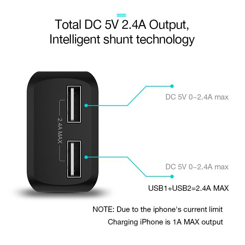 CAFELE EU Charger Plug Travel USB 2.4A երկակի ելքային - Ավտոմեքենաների էլեկտրոնիկա - Լուսանկար 4