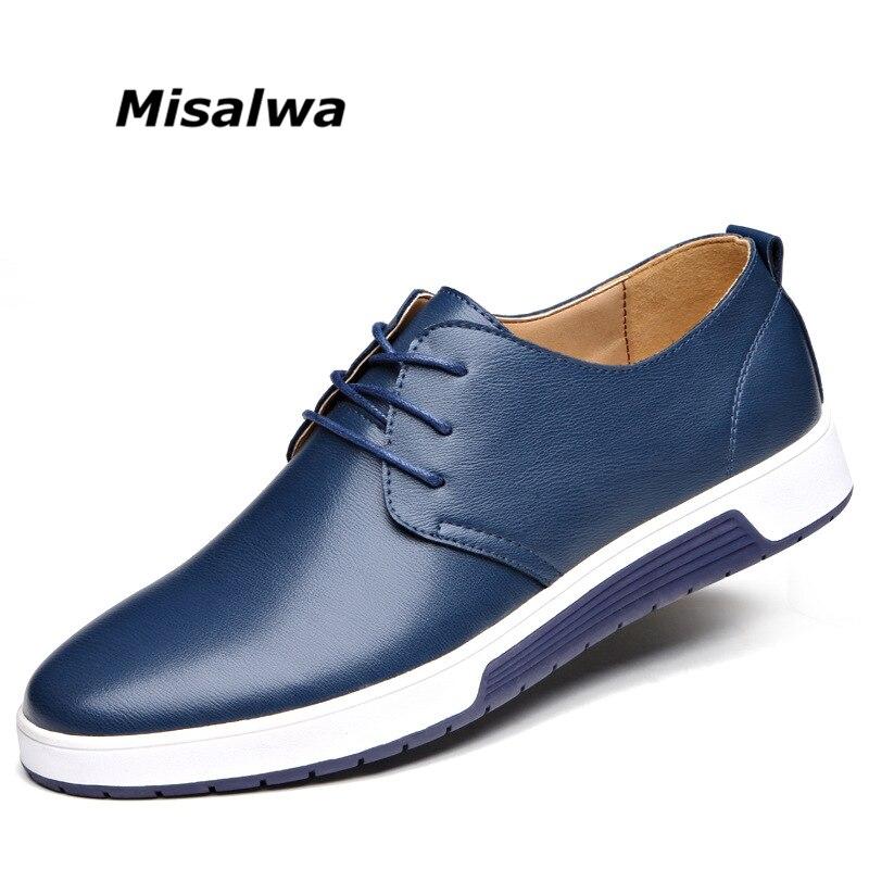 Misalwa Nuovo 2019 Uomini Casual Scarpe Scarpe Basse Comode Scarpe di Cuoio di Marca di Lusso Degli Uomini di Trasporto di Goccia
