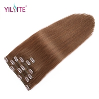 YILITE Non Remy Straight Clip In Human Hair Extensions 14'' 20inch 100% Human Hair Clips In Hair Extensions