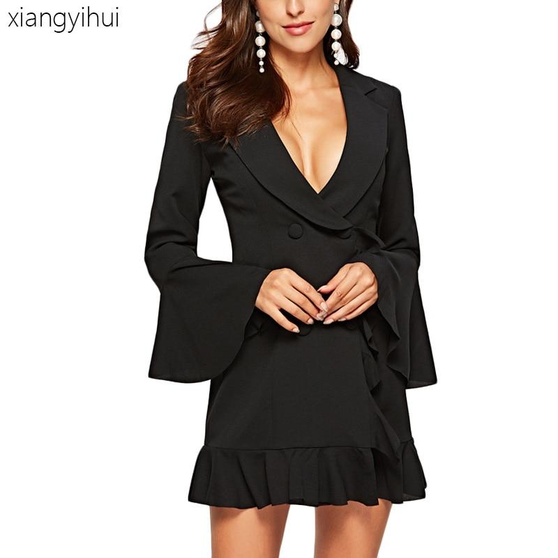 Bureau travail fête robe décontracté Sexy Blazer robe dames taille haute élégant Mini volants robes pour automne hiver 2018