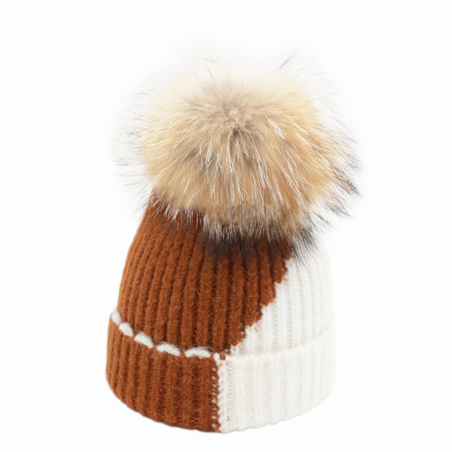 Winter Hat For Women Wool Rabbit   Beanie   Raccoon Fur Pompom 2018 Knitted   Skullies     Beanies   Mixed Color Hat Female
