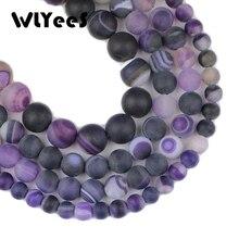 WLYee Natural stone Matte Violet Stripe Purple carnelian 6 8 10 mm Round Loose bead for jewelry Bracelets Making Accessories DIY