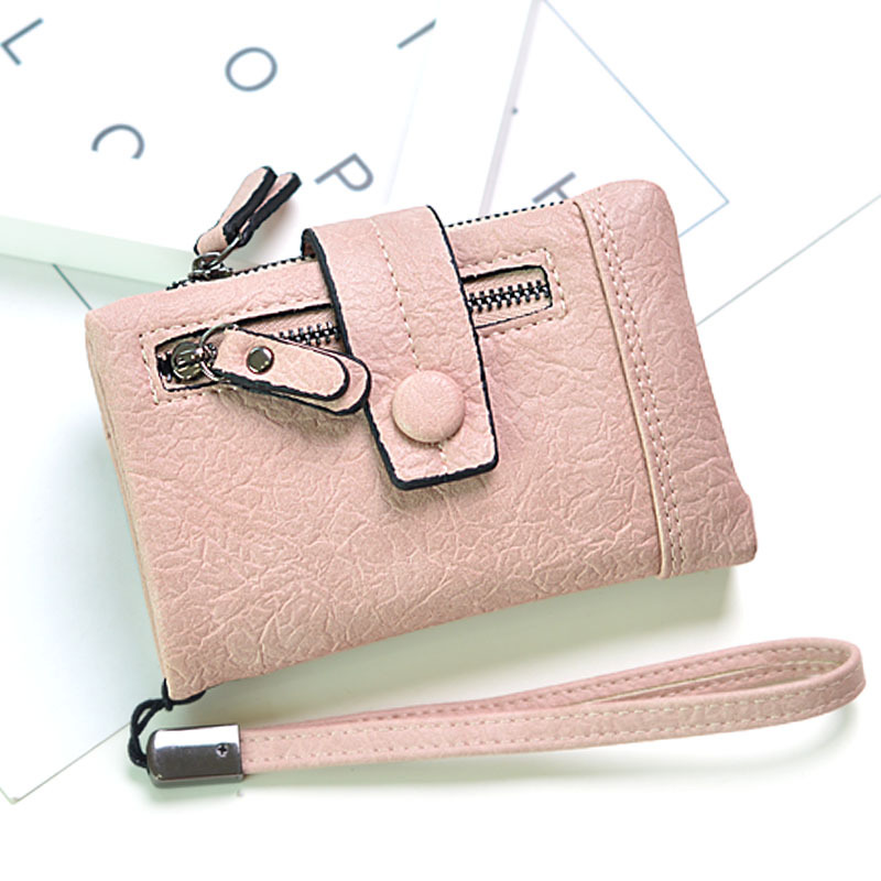 2018 Women Casual Short Wallet Pu Leather Vintage Women's Purse Zipper Button Purse Small Retro Wallet Coin Small Pocket Cartera moana maui high quality pu short wallet purse with button