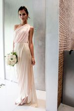 2017 Cheap Elegant Bridesmaid Dress Sheath Light Pink One Shoulder Chiffon Long Bridesmaid Dresses Wedding Guest Dress