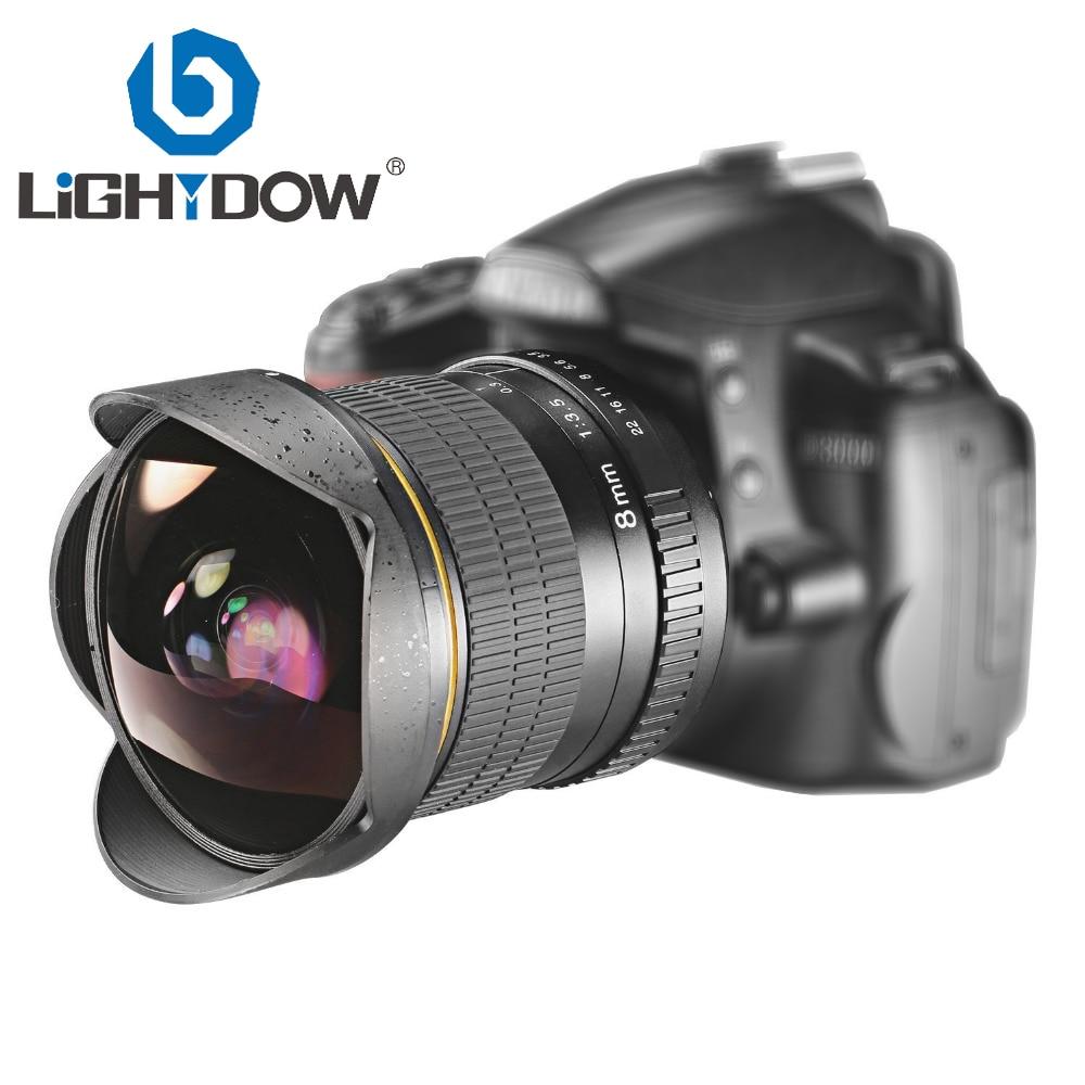 Objectif Fisheye Ultra grand Angle Lightdow 8mm F/3.5 pour appareil photo reflex numérique Nikon D3100 D3200 D5200 D5500 D7000 D7200 D7500 D90 D7100