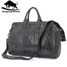 العلامة التجارية الرجال خمر اضافية كبيرة السفر حقيبة حزمة ذات قدرة كبيرة المحمولة الكتف الجلود حقيبة من القماش الخشن الرجال حقائب السفر