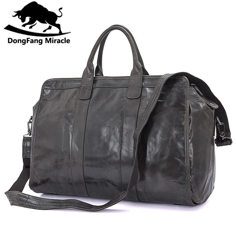 Brand Men's vintage extra large travel bag Package Large Capacity Portable Shoulder leather duffel bag men travel Bags