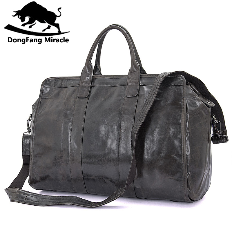 Brand Mens vintage extra large travel bag Package Large-Capacity Portable Shoulder leather duffel bag men travel Bags ...