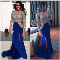 Luxuries See Though 2019 New Arrival Scoop Long sleeve Heavy Rhinestone Crystal formal evening gown Prom Dresses for women