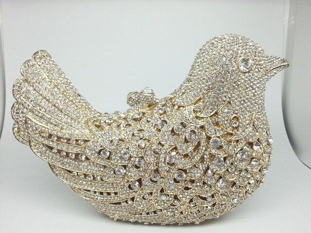 Gift Box Clear Diamond Bird Handbag Full Crystal Ladies Party ...