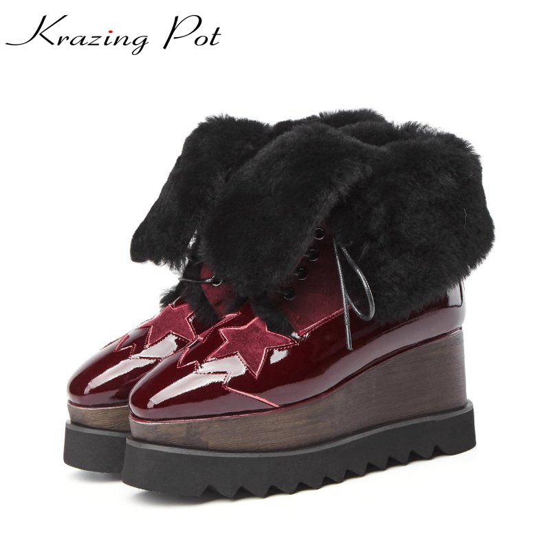 Krazing Pot sheep fur fashion flat with square toe keep warm snow boots streetwear five-star print big size mid-calf boots L89 quality assurance sheep fur snow boots female warm winter flat bandage calf height boots large size free shipping