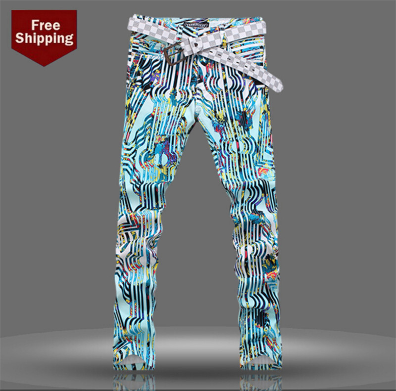 ФОТО Men Nightclub Blue Color 3D Print Straight Jeans Mens Denim Pattern Printed Jeans Men New Arrival Big Size 28-40