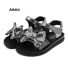 AAdct 2019 summer princess baby girls sandals new Sequin Bow little kids sandals for girls High-quality children shoes цена 2017