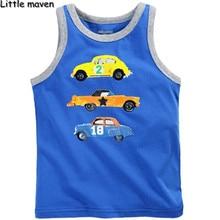 Little maven/брендовая одежда для детей; коллекция года; сезон лето; топы на бретелях из хлопка с принтом машины для мальчиков; детская брендовая майка; T001