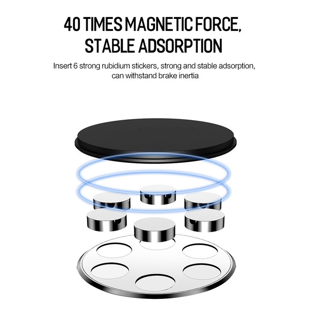 Metal Magnetic Car Phone Holder for iPhone Samsung Xiaomi 360 Air Magnet Stand in Car GPS 3