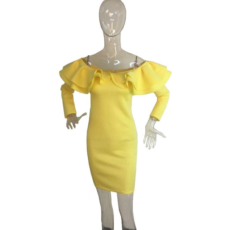 Spring 2018 Yellow Ruffle Dress Woman Saxy Sexy Off The Should Long Sleeve Bodycon Retro Party Dress 60's Abendkleider Clubwear
