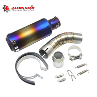 Alconstar Modified Motorcycle Exhaust Middle Pipe Connection Link Pipe Fit For 51mm Muffler With Exhaust Slip On For Z900