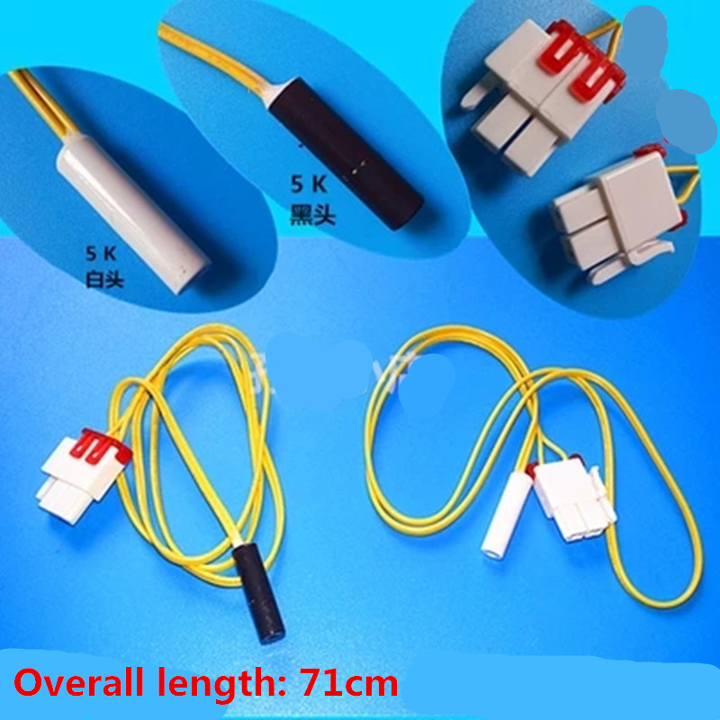 2pcs apply to the original Samsung defroster refrigerator parts defrost sensor probe temperature 5K black and white head original new for haier frost free refrigerator parts defrost sensor probe temperature bcd 518ws 00606150125