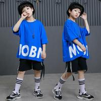 2018 New Summer Kids Clothes Set Boys Clothing Short Sleeve Sports Outfits Children Hip Hop Dance Costumes