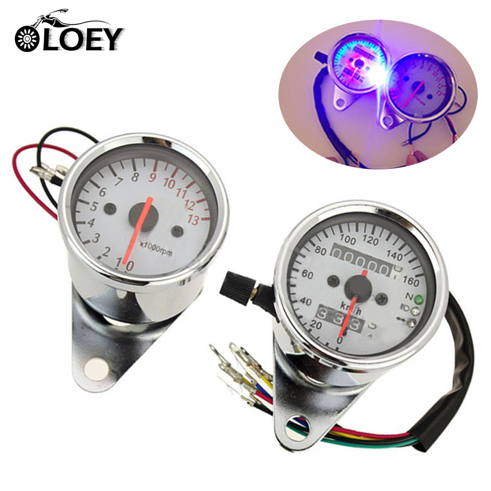 Universal 12V Motorcycle Silver 0-13000 RPM 0~160km/h Speedometer Gauge Backlight Tachometer Set Odometer Moto ATV Moped old school motorcycle gauges