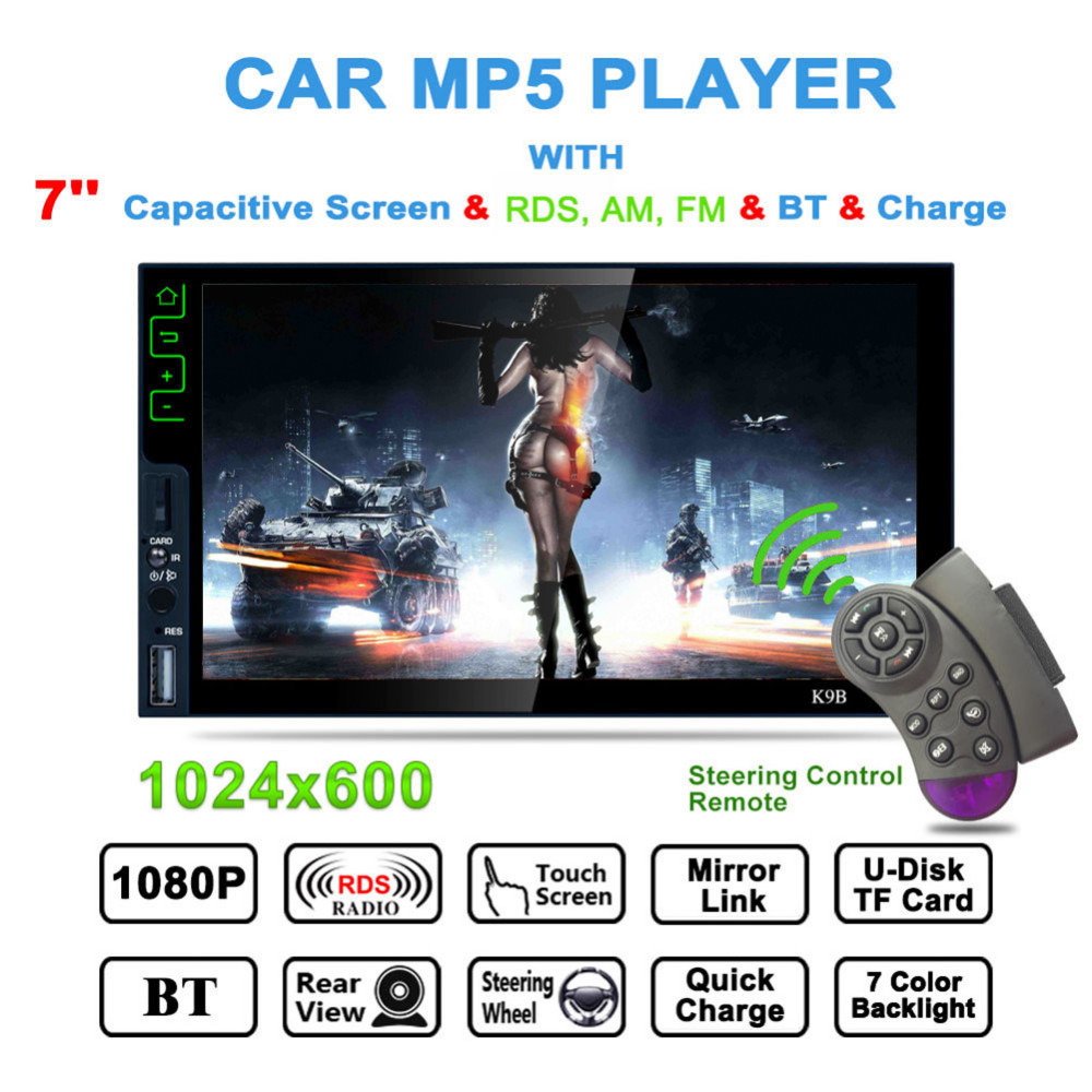 K9B Touch Bluetooth HD 7 Inch MP5 Player AM/FM/RDS Radio Tuner Mirror Link Steering Wheel Remote Control with Rearview Camera 7 hd 2din car stereo bluetooth mp5 player gps navigation support tf usb aux fm radio rearview camera fm radio usb tf aux