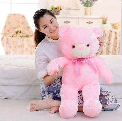 50 см розовый плюшевый мишка Игрушечные лошадки Kawaii световой плюшевый медведь мягкая игрушка кукла плюшевые Подушки Детские со светодиодно…