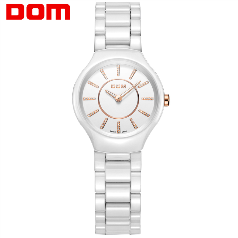 Watch Women DOM brand luxury Fashion Casual quartz ceramic watches Lady relojes mujer  wristwatches Dress clock T-520-7M weiqin new 100% ceramic watches women clock dress wristwatch lady quartz watch waterproof diamond gold watches luxury brand