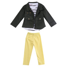 Toddler Kids Baby Girls Outfits Tops Shirt+Trousers Pants+Coat Clothes Sets 3pcs