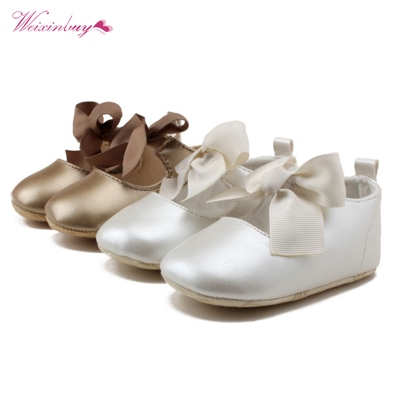 Fashion Toddler Baby Girl Soft PU Shoes Bow Bandage Infant Princess Infant Sneakers Prewalker 0-18M