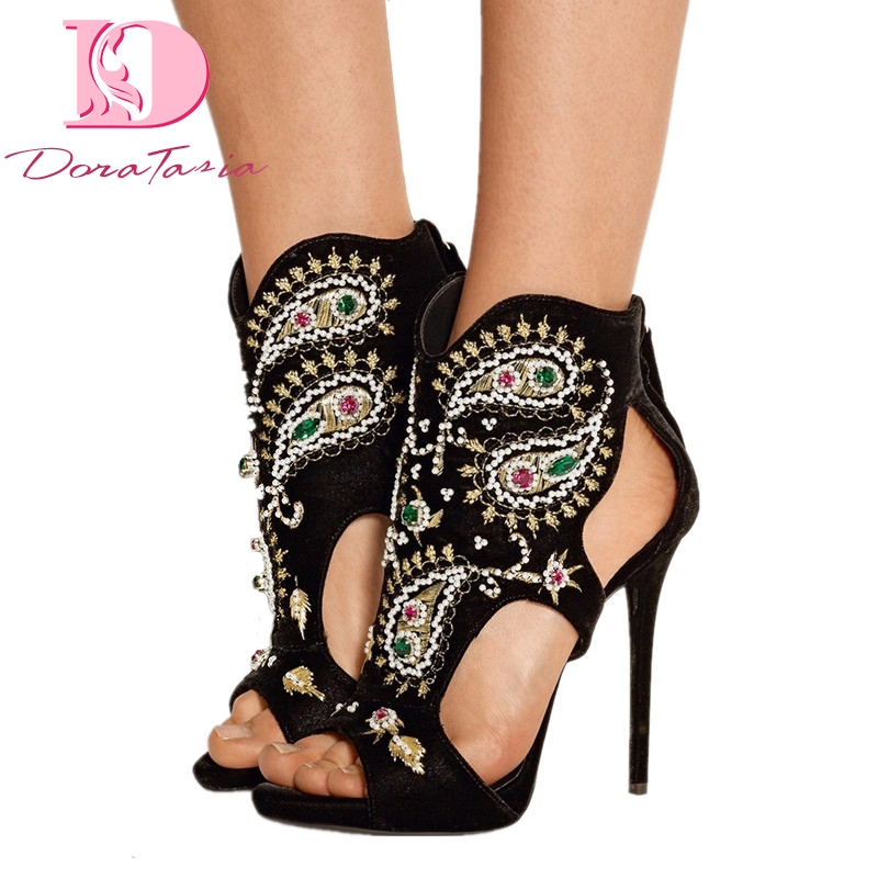 DoraTasia 2018 brand Manually ordered Plus Size 34-45 High Heels Summer Sandals Shoes Sexy crystals Party Wedding Women Shoes karinluna best quality crystals brand big size 34 43 sexy high heels summer sandals shoes women party woman shoes